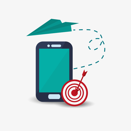 flat design cellphone with bullseye and paper airplane vector illustration