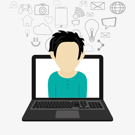 illustraiton: flat design laptop with man avatar coming out and   telecommunication related icons vector illustraiton