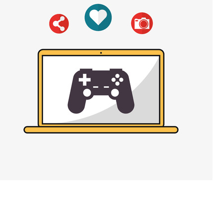 illustraiton: flat design laptop with game controller camera and telecommunication related icons vector illustraiton