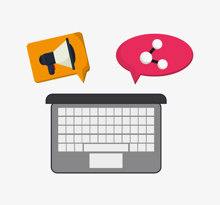 illustraiton: flat design laptop with megaphone and connection icon inside thought or conversation bubble telecommunication related icons vector illustraiton