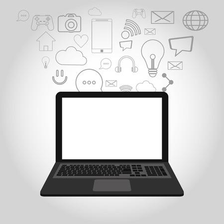illustraiton: flat design laptop surrounded by  telecommunication related icons vector illustraiton