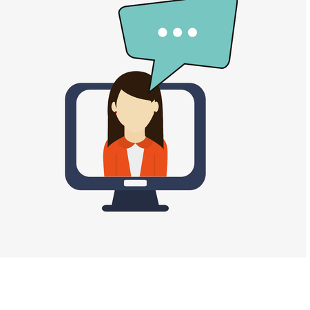 flat design computer monitor with conversation or thought bubble coming out of woman avatar   office and telecommunication icons vector illustration Illustration
