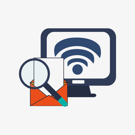 glass office: flat design computer monitor with wifi signal message envelope and magnifying glass office and telecommunication icons vector illustration