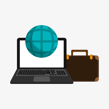 illustraiton: flat design laptop with earth globe diagram and briefcase telecommunication related icons vector illustraiton Illustration