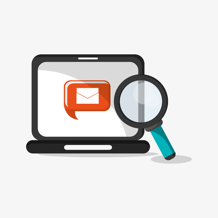 illustraiton: flat design laptop with magnifying glass and envelope message on screen telecommunication related icons vector illustraiton