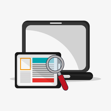 illustraiton: flat design laptop with magnifying glass and tablet telecommunication related icons vector illustraiton
