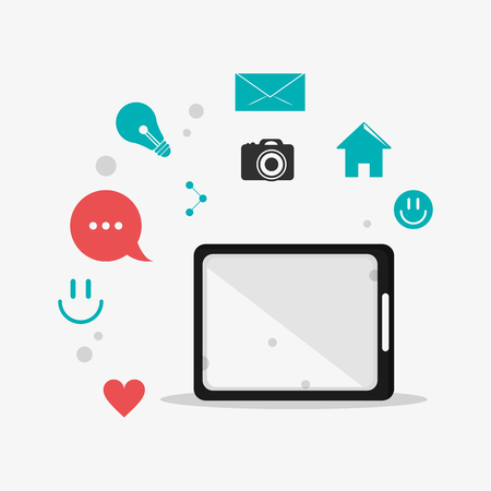 palmtop: flat design single tablet surrounded by telecommunication icons  vector illustration