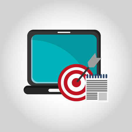 illustraiton: flat design laptop with bullseye and notepad  telecommunication related icons vector illustraiton
