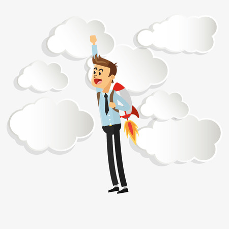 flat design businessman with jetpack icon vector illustration
