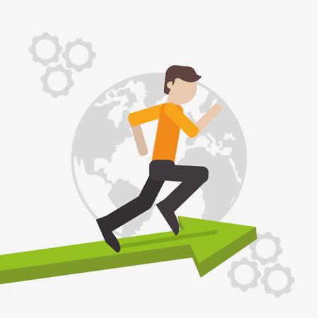 flat design businessman running on top of arrow icon vector illustration Illustration