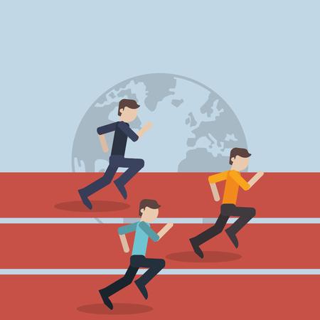 flat design businessmen competition icon vector illustration