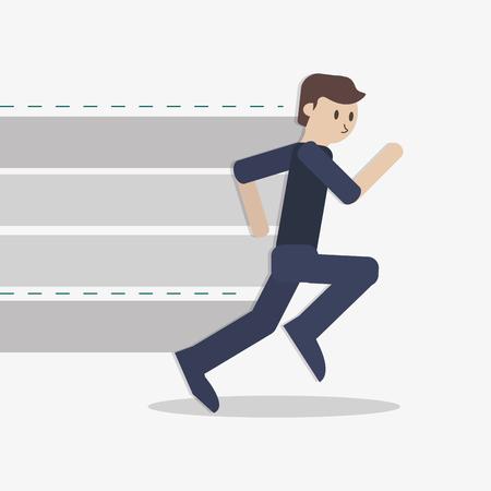 contestant: flat design businessman running icon vector illustration