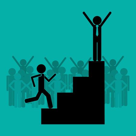 victorious: flat design businessman on top of podium icon vector illustration Illustration