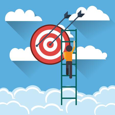 climbing ladder: flat design businessman climbing ladder icon vector illustration Illustration