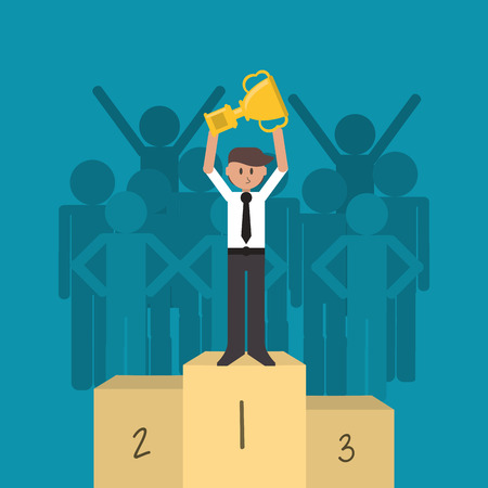 flat design businessman holding trophy on top of podiu, with crowd in the background icon vector illustration