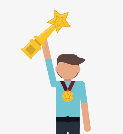 flat design businessman holding trophy and medal icon vector illustration