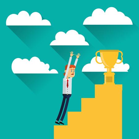 flat design businessman reaching for trophy icon vector illustration Illustration