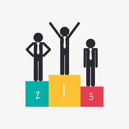 flat design businessman on top of podium icon vector illustration Illustration