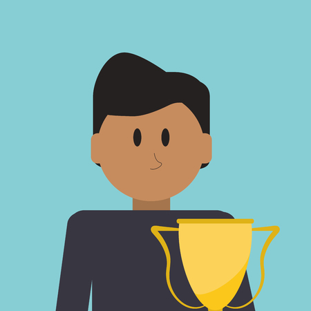 flat design businessman standing next to trophy icon vector illustration Illustration