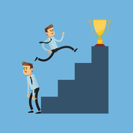 flat design businessmen competing for trophy icon vector illustration Illustration