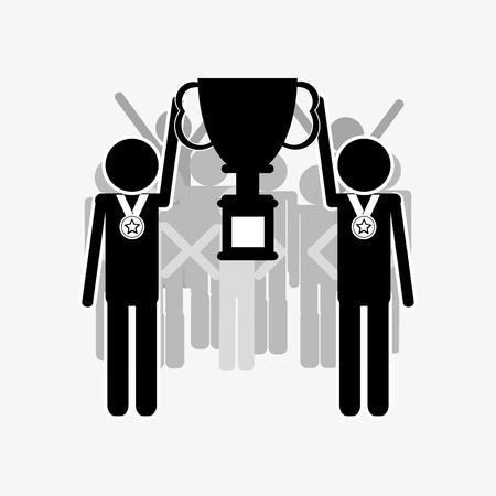 flat design businessmen pictogram holding trophy icon vector illustration
