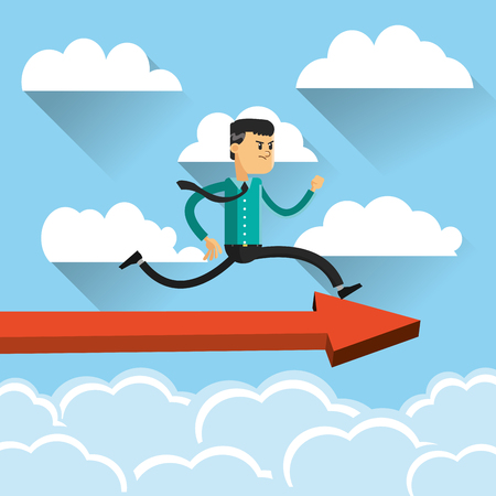 active arrow: flat design businessman running on top of arrow icon vector illustration Illustration