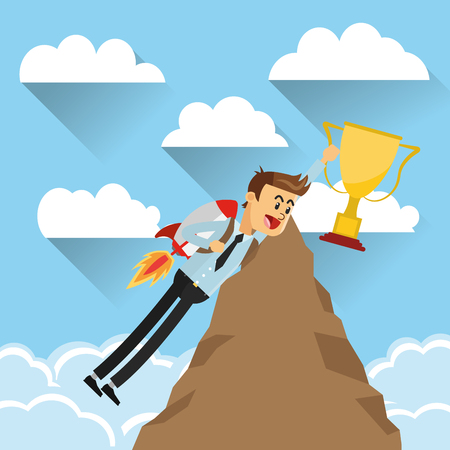 flat design businessman with jet pack holding trophy on top of mountain icon vector illustration