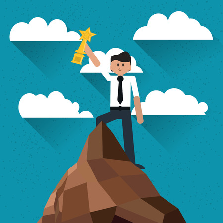 flat design businessman holding trophy on top of mountain icon vector illustration