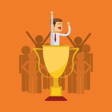 flat design businessman inside trophy icon vector illustration