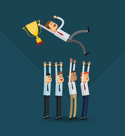 flat design happy businessmen holding trophy icon vector illustration