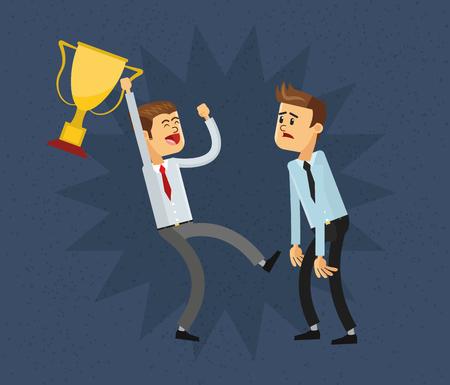 jealousy: flat design businessman holding trophy and jealousy  icon vector illustration Illustration