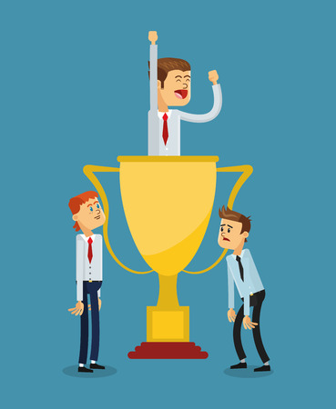 flat design businessman inside trophy icon vector illustration Vector Illustration