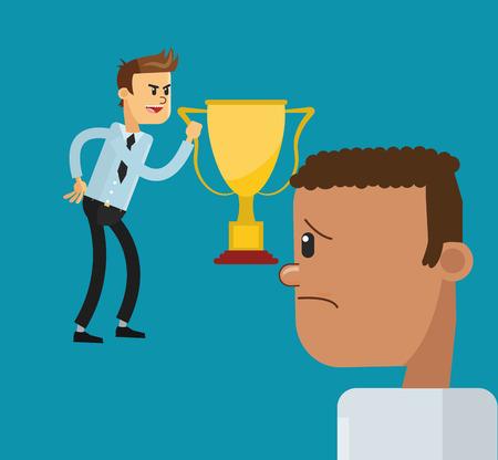 celos: El diseño plano de negocios que sostiene el trofeo y los celos icono de la ilustración del vector