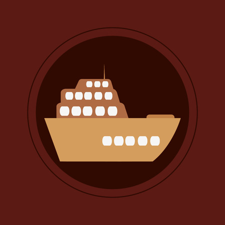 maroon background: flat design single cruise ship icon on maroon background vector illustration