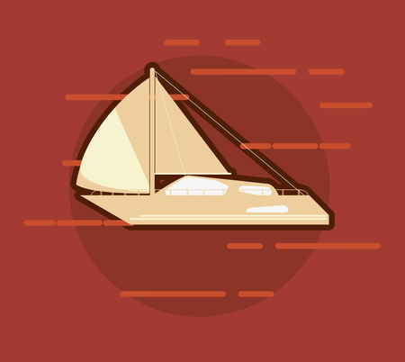 wave tourist: flat design sail boat icon over maroon background vector illustration