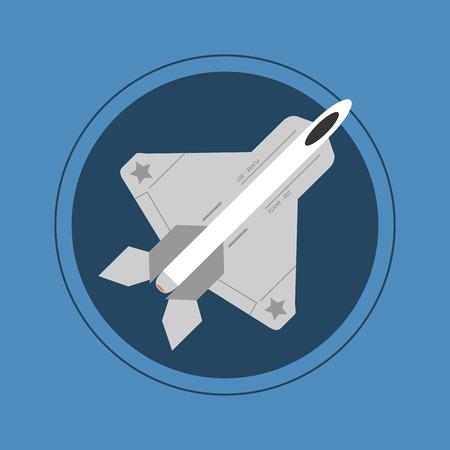 supersonic: flat design single fighter jet vector illustration Illustration