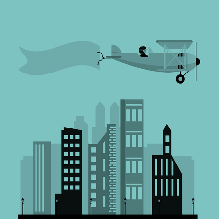 fuselage: airplane and advertising banner over city vector illustration