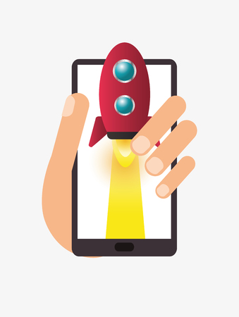 single rocket icon coming out of handheld cellphone vector illustration
