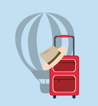 cloud drift: hot air balloon and suitcase with hat icon vector illustration