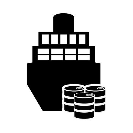 sea tanker ship: flat design cargo ship and oil barrels icon vector illustration