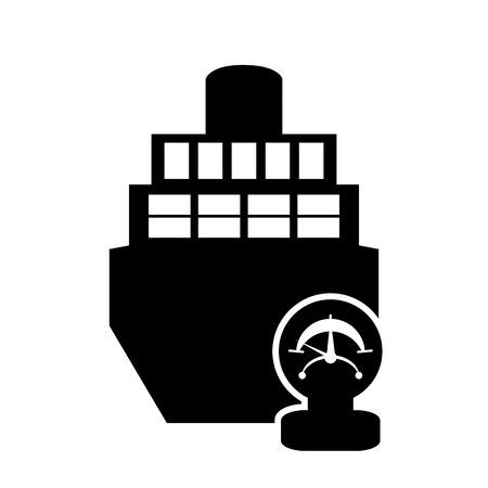 flat design cargo ship and manometer icon vector illustration