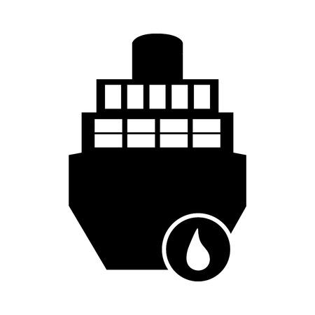 flat design cargo ship and droplet icon vector illustration Ilustração