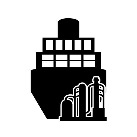 sea tanker ship: flat design cargo ship and oil refinery icon vector illustration Illustration