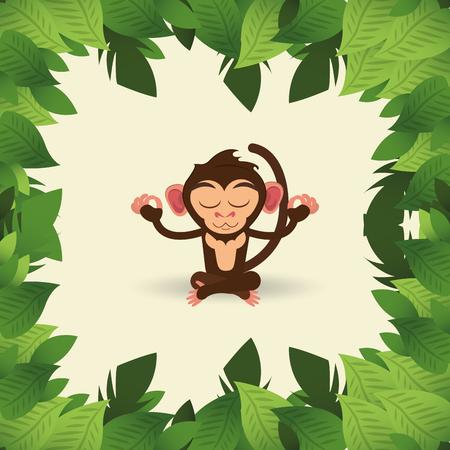 design plat jungle méditant vecteur de bande dessinée de singe illustration