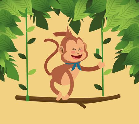 jungle scene: flat design jungle monkey hanging cartoon vector illustration Illustration