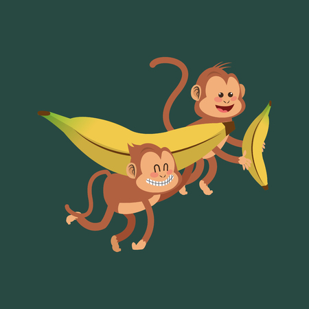 playful: flat design playful  jungle monkeys cartoon  and banana vector illustration