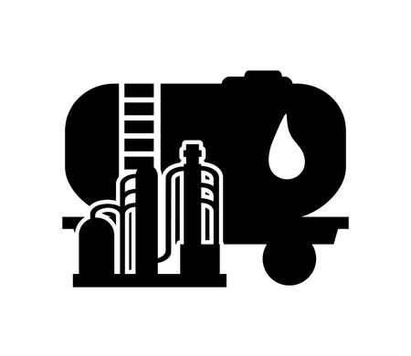 oil refinery: flat design oil tank and oil refinery icon vector illustration