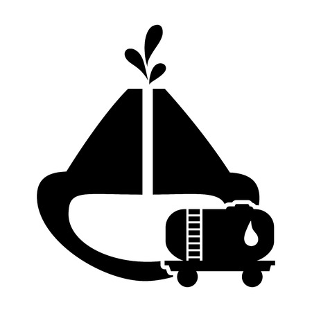 flat design petroleum reservoir and fuel tank icon vector illustration