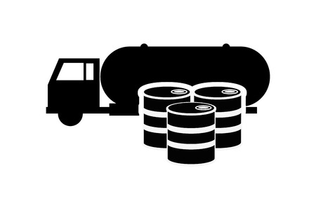 cisterna: plana cami�n cisterna y el dise�o del barril de petr�leo icono de la ilustraci�n del vector