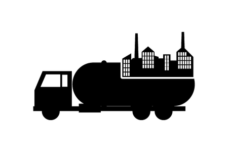 cistern: flat design cistern truck and factory icon vector illustration